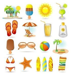 Summer Ice-Cream Bikini Surf Drinks Icons