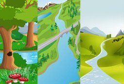Gratis vector cute cartoon landschap