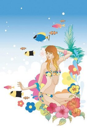 Woman Swimsuit Sea Flowers