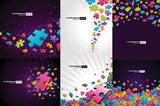 Colorful puzzle pieces theme background