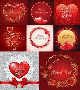 Vector romantic greeting cards