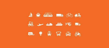 18 Transporte viajes Vector Icons Set