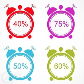 Alarm clock percent sign Vector icons