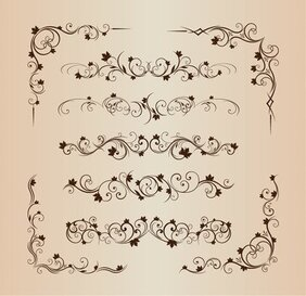 Ornamento decorativo floral Vector Set