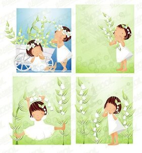 White flower theme 3 (South Korea iClickart Four Seasons cut