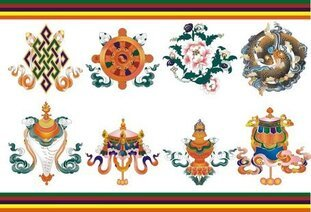 Eight auspicious in Tibet material