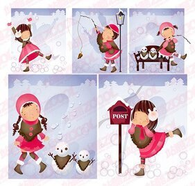 Snowman theme (South Korea iClickart Four Seasons cute girl