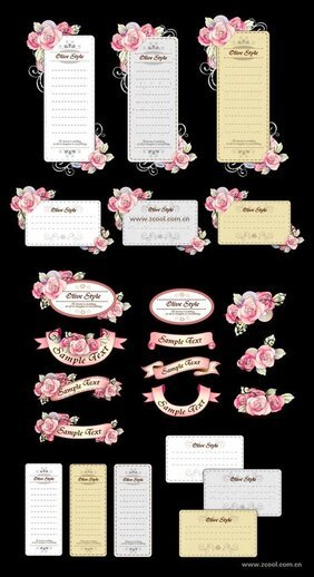 Ribbon Card with hand-painted flowers vector material (powde