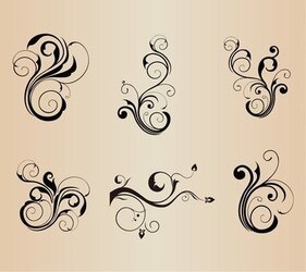 Swirl Floral Element Vector Set for Design