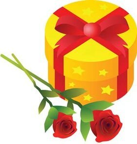 Stalk of rose and gift box