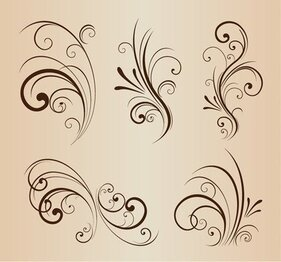 Vector Set of Swirling Flourishes Decorative Floral Elements