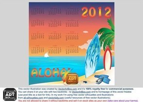 Vector Hawaiian Calendar