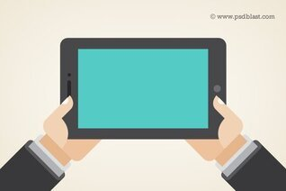 Vector Shape Hand met een Touchpad PC, Tablet (PSD)