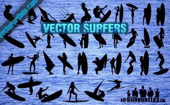 36 Vector Surfers Clipart