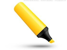 PSD yellow highlighter pen icon