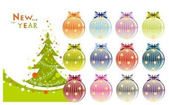 Christmas trees and decoration balls