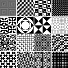 Monochrome Geometric Seamless Patterns