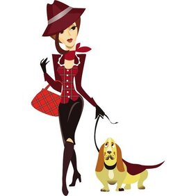 WOMAN WALKING HER DOG VECTOR.eps