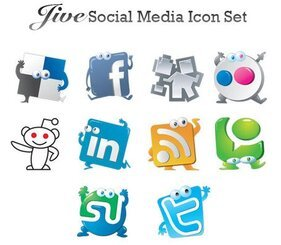 Set of 10 Social Media Icons