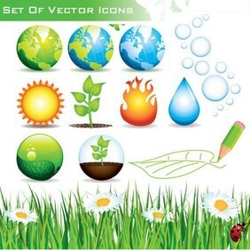 Ecology and nature icons Vector set