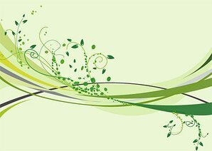Patterns, leaves, dynamic lines, smooth lines, green, materi