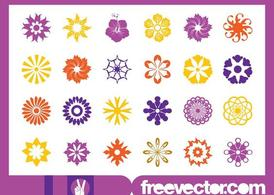 Floral Blossoms Icons Set