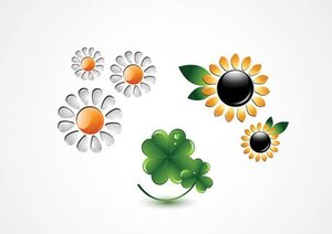 Flower Icons: Sunflower, Chamomile and Clover Vectors (Free)