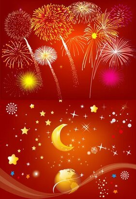 Fireworks rain stars moon earth
