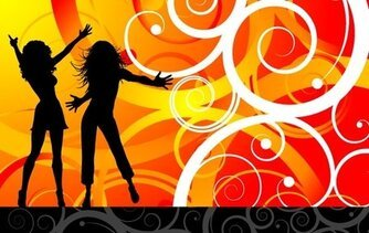 Vector Model Dancing Silhouette Women