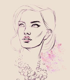 Pearl beautiful woman portrait sketch