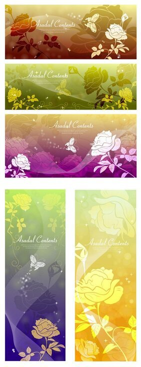 Dream Rose Butterfly silhouette vector background material
