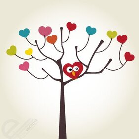 Free Vector love bird and tree