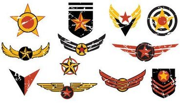 Material retro flight badges