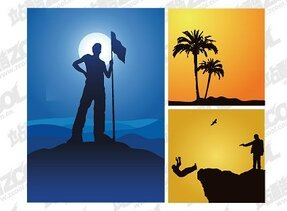 3 beautiful material vector silhouette illustration