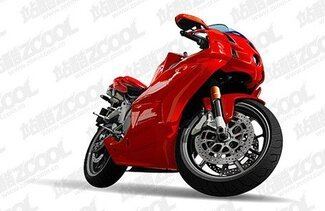 Ai red motorcycle vector drawing realistic material