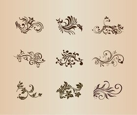 Collection of Vector Design Floral Ornament Elements