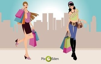 Comic Style Fashion Shopping Girls