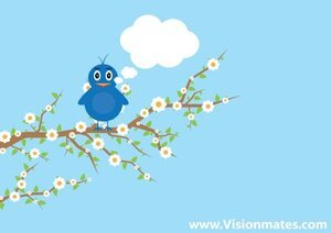 Blue Bird Vector On A Tree Branch