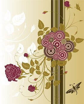 Vector material with roses round the tide of