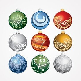 Christmas Balls Ornaments Vector Set (Free)