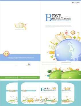Cartoon vector elements elegant brochure material
