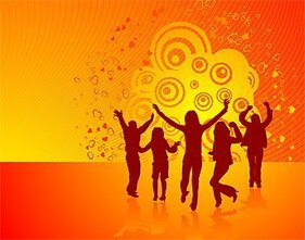 People silhouette Vector lively material