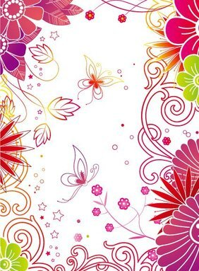 Vector fashion flowers background material Butterfly