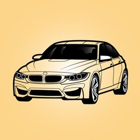 Black & White BMW Sedan Car
