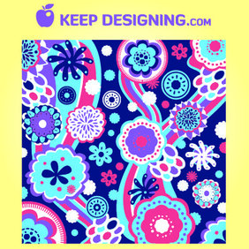 Funky Floral & Swirly Pattern Background