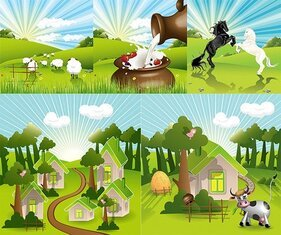 Vector lovely countryside farm