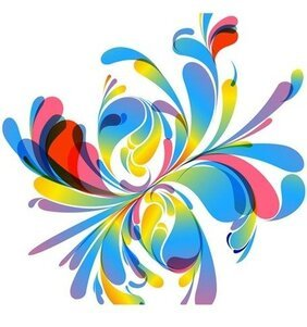 Abstract Vector Illustration de Design Floral coloré