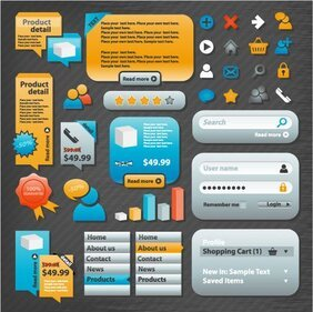 Practical Web Design Elements 02- Vector Material Web Design Icons Labels