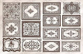 A variety of practical European-style lace border vector mat