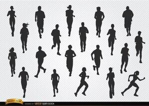 People silhouettes de jogging